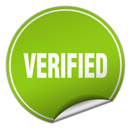 verified: verified round green sticker isolated on white