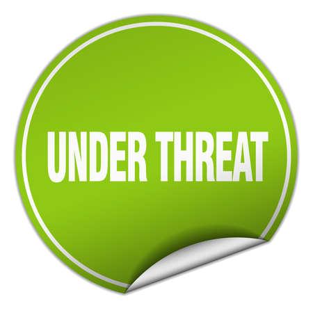 threat: under threat round green sticker isolated on white Illustration