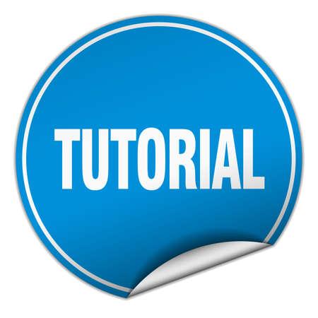 tutorial: tutorial round blue sticker isolated on white Illustration