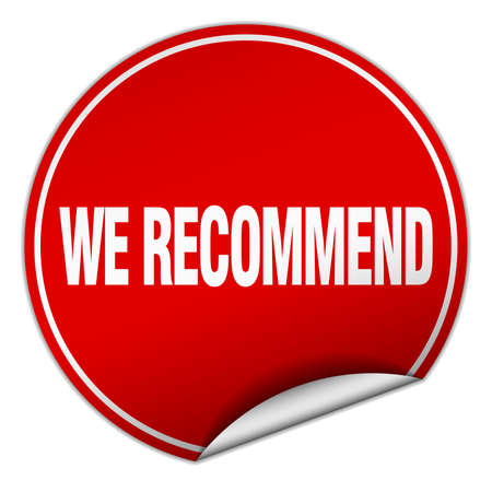 recommend: we recommend round red sticker isolated on white