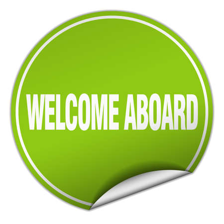 aboard: welcome aboard round green sticker isolated on white Illustration