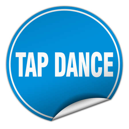 tap dance: tap dance round blue sticker isolated on white Illustration