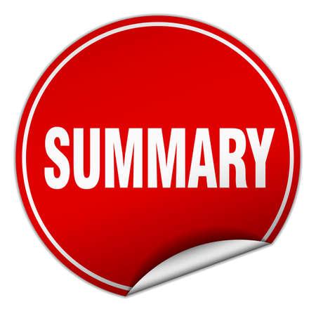 summary: summary round red sticker isolated on white