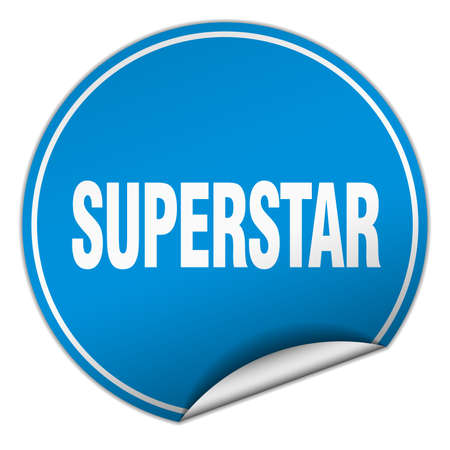 superstar: superstar round blue sticker isolated on white Illustration
