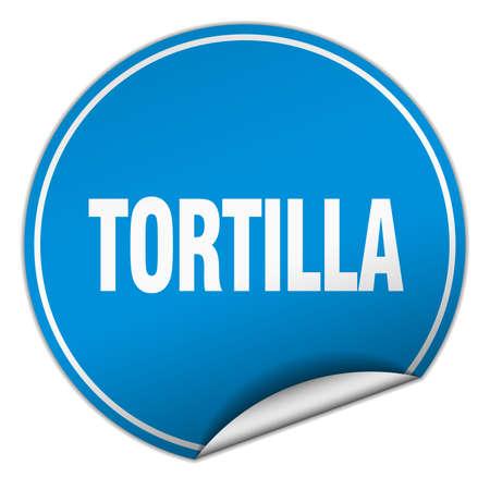 tortilla: tortilla round blue sticker isolated on white