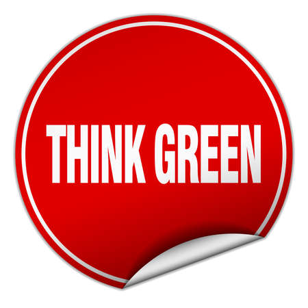 think green: think green round red sticker isolated on white