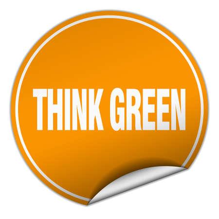 think green: think green round orange sticker isolated on white