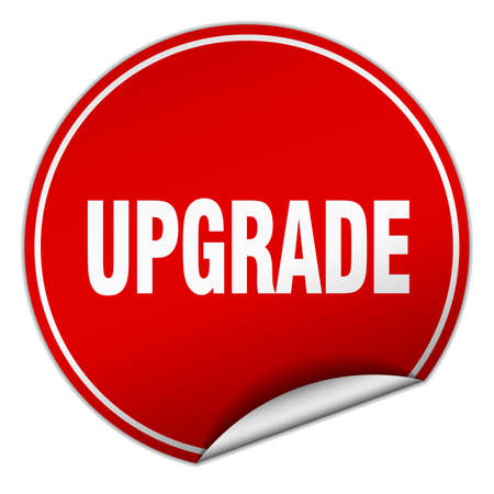 upgrade: upgrade round red sticker isolated on white Illustration