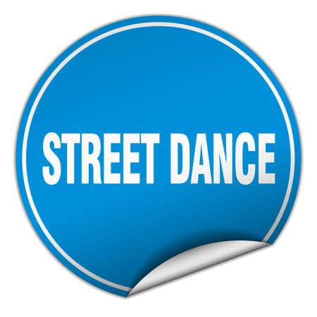 street dance: street dance round blue sticker isolated on white