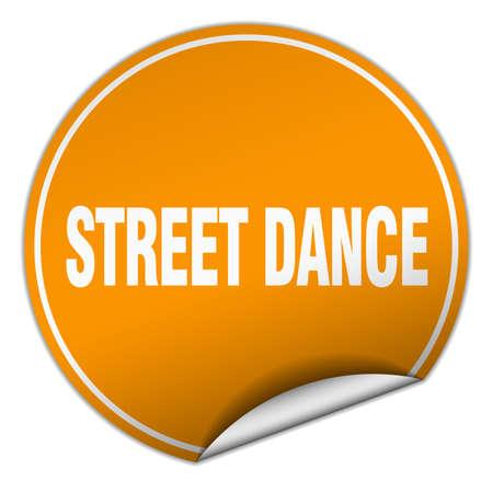 street dance: street dance round orange sticker isolated on white