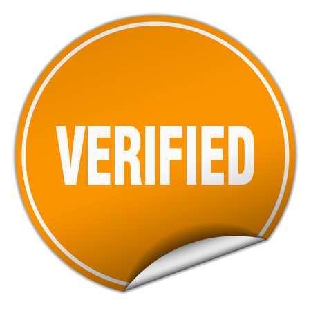 verified: verified round orange sticker isolated on white Illustration