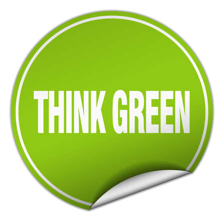 think green: think green round green sticker isolated on white Illustration