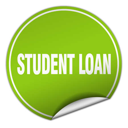 student loan: student loan round green sticker isolated on white