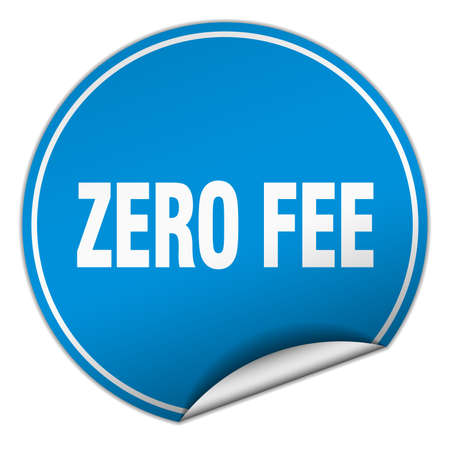 fee: zero fee round blue sticker isolated on white