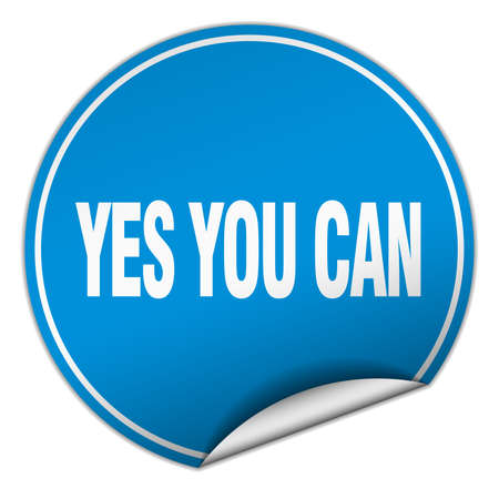 can yes you can: yes you can round blue sticker isolated on white