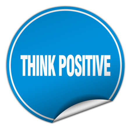 think positive: think positive round blue sticker isolated on white Illustration