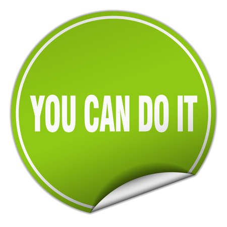 you can do it: you can do it round green sticker isolated on white