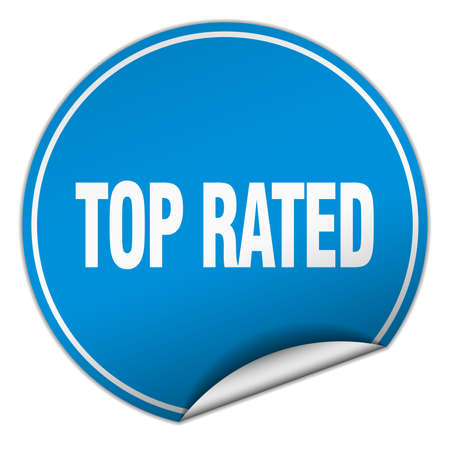 top rated: top rated round blue sticker isolated on white Illustration