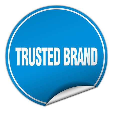 trusted: trusted brand round blue sticker isolated on white Illustration