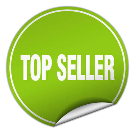 top seller: top seller round green sticker isolated on white
