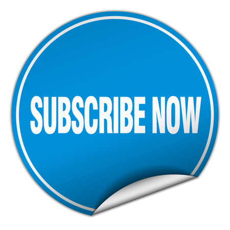 subscribe now: subscribe now round blue sticker isolated on white
