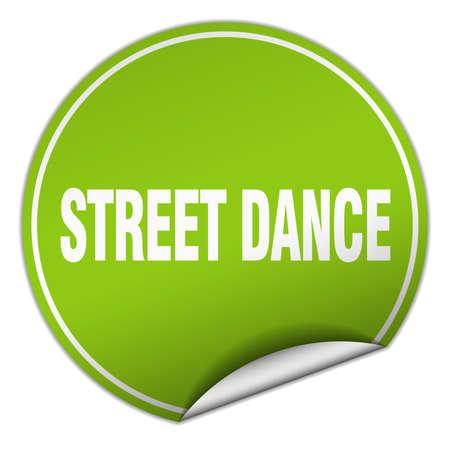 street dance: street dance round green sticker isolated on white