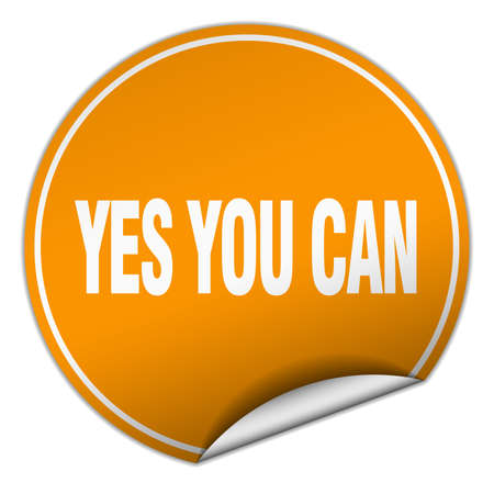 can yes you can: yes you can round orange sticker isolated on white Illustration