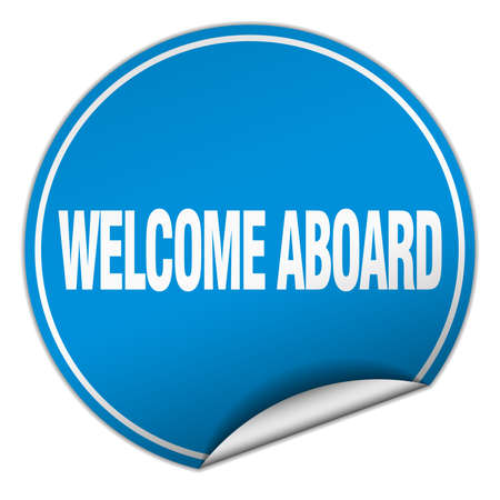 aboard: welcome aboard round blue sticker isolated on white