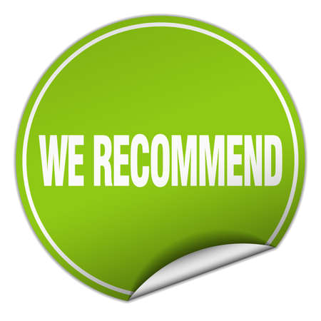 recommend: we recommend round green sticker isolated on white Illustration