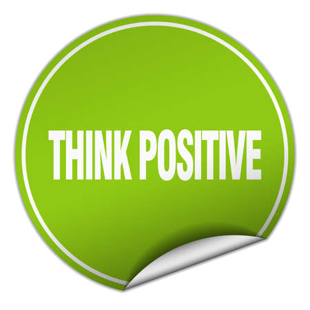 think positive: think positive round green sticker isolated on white