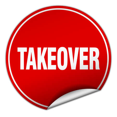 takeover: takeover round red sticker isolated on white Illustration