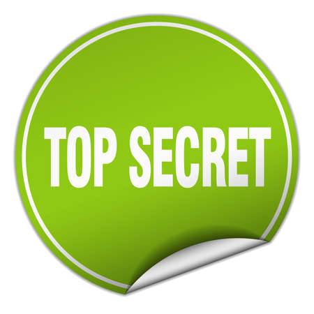 top secret: top secret round green sticker isolated on white