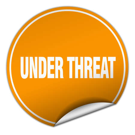 threat: under threat round orange sticker isolated on white Illustration