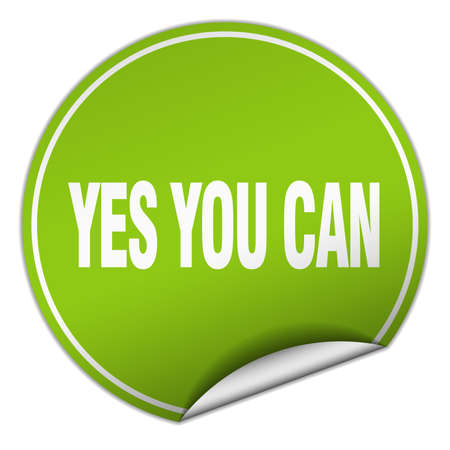 can yes you can: yes you can round green sticker isolated on white