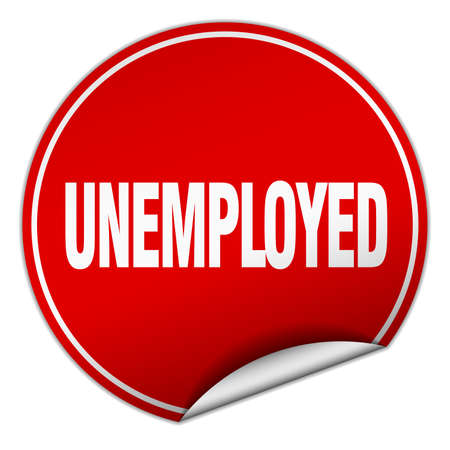 jobless: unemployed round red sticker isolated on white