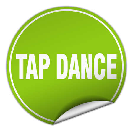 tap dance: tap dance round green sticker isolated on white