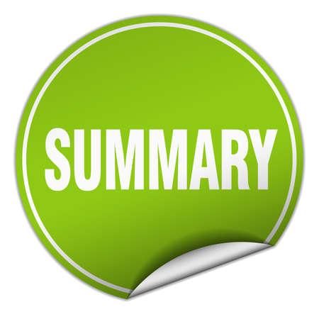 summary: summary round green sticker isolated on white