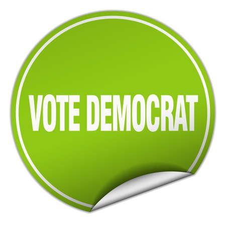 democrats: vote democrat round green sticker isolated on white