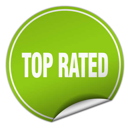 top rated: top rated round green sticker isolated on white
