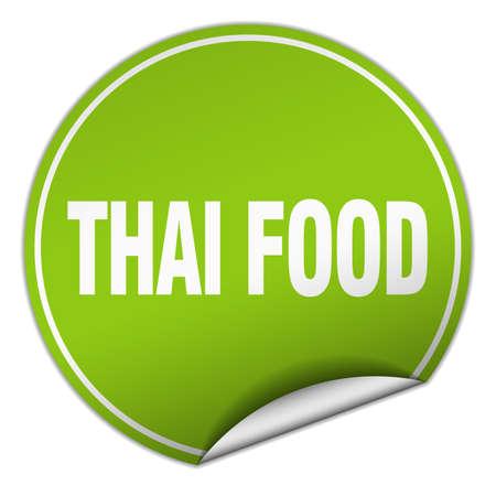 thai food: thai food round green sticker isolated on white