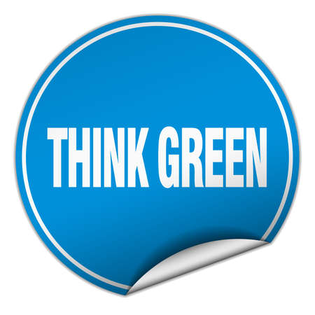 think green: think green round blue sticker isolated on white