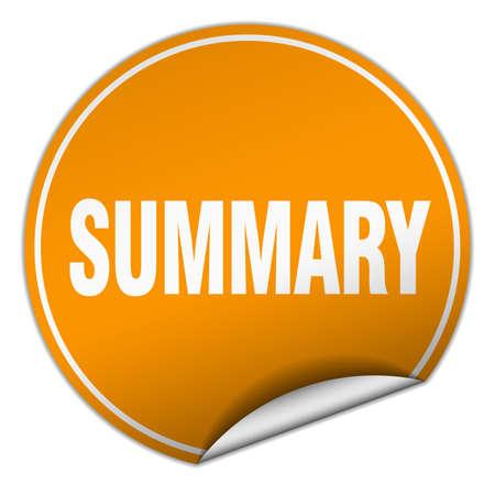 summary: summary round orange sticker isolated on white Illustration