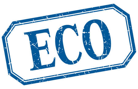 eco notice: eco square blue grunge vintage isolated label