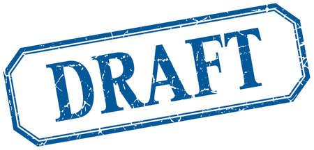 draft square blue grunge vintage isolated label