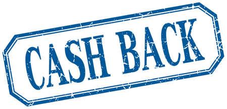 cash back: cash back square blue grunge vintage isolated label
