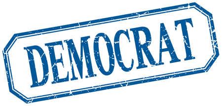 democratic donkey: democrat square blue grunge vintage isolated label