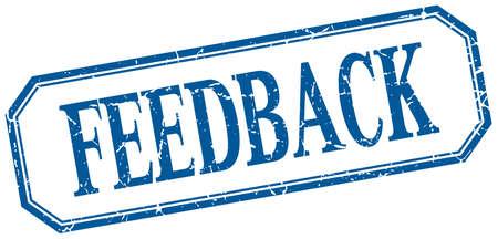 feedback label: feedback square blue grunge vintage isolated label