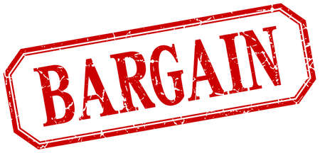bargain: bargain square red grunge vintage isolated label Illustration