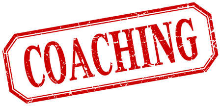 coaching: coaching square red grunge vintage isolated label