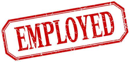 employed: employed square red grunge vintage isolated label